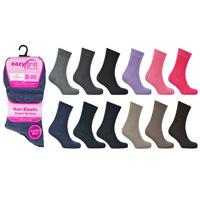 Ladies Eazy Grip Non Elastic Socks Assorted Colours