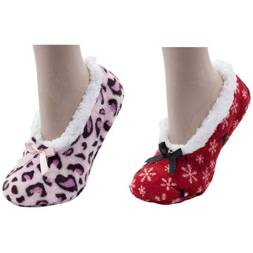Ladies Soft Fleece Slipper Socks With Bow
