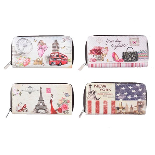 Ladies Card And Coin Purse With Digital City Prints