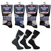 Mens Comfort Cuff Soft Non Elastic Socks Argyle