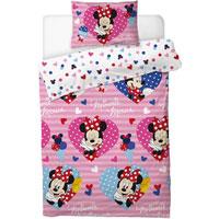 Official Minnie Mouse Duvet Set Love Hearts Double