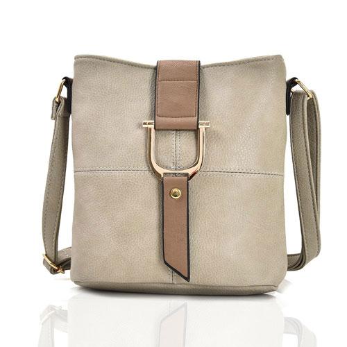 Ladies Audrey Bucket Crossbody Bag Beige