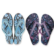 Ladies Floral Print Flip Flop With Glitter Strap