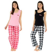 Ladies Ruffle Tie Top With Check Pant Pyjamas