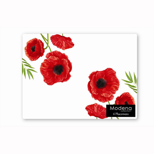 Poppy Flower 4 Pack Placemats