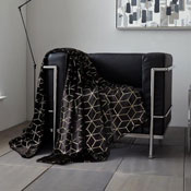 Metallic Cube Faux Mink Throw Black