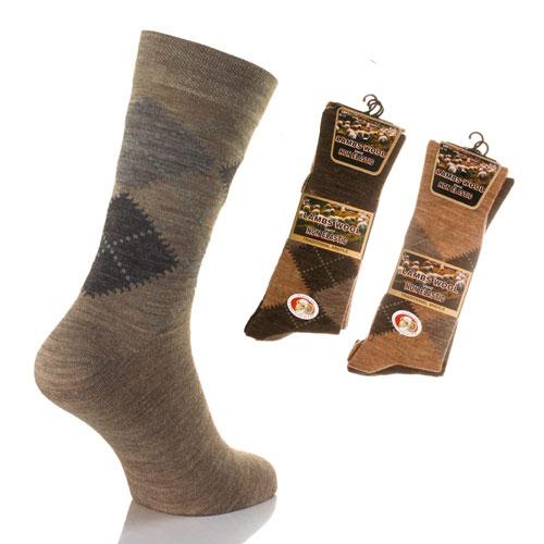 Mens Lambs Wool Blend Non Elastic Socks