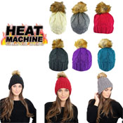 Ladies Natural Pom Pom Hat Cosy Lining Carton Price
