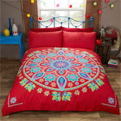 Bohemian Mandala Red Duvet Set