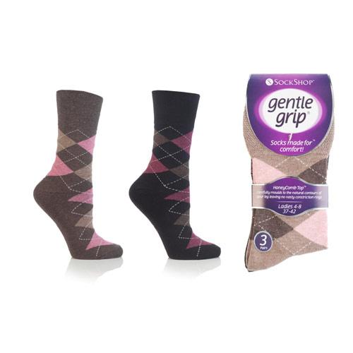 Ladies Gentle Grip Socks Argyle Neutrals