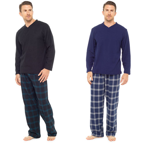 Mens Checked Style Pyjama Set Blue/Black