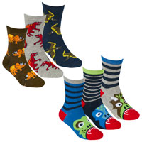 Boys 3 Pack Design Socks Dinosaur