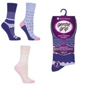 Ladies Gentle Grip Zig Zag Floral Socks