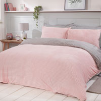 Cosy & Soft Ribbed Fleece Reversible Duvet Set Pink/Grey