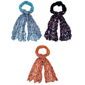 Ladies Ruched Scarves Spotty