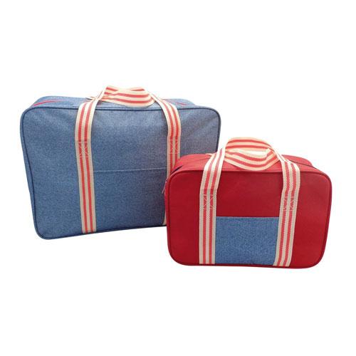 Insulated Cooler Bags Set Denim Stripe