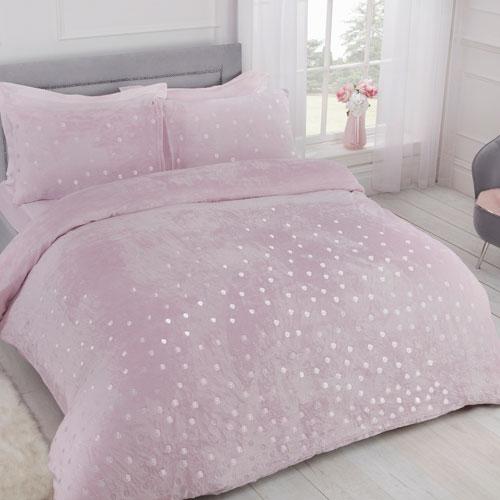 Comfy Fleece Foil Dots Duvet Set Blush