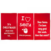 Christmas Red Printed Felt Sacks