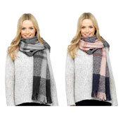 Ladies Checked Pattern Fleece Scarf