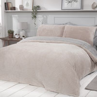 Cosy & Soft Ribbed Fleece Reversible Duvet Set Champagne/Grey