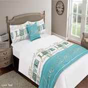 5 Piece Bed in a Bag Set Love You Teal