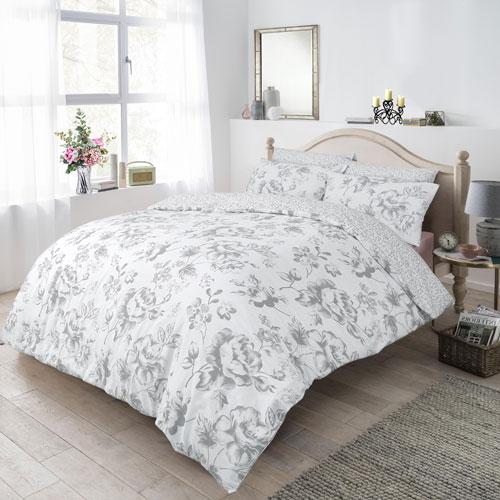Monochrome Floral Grey Reversible Duvet Set