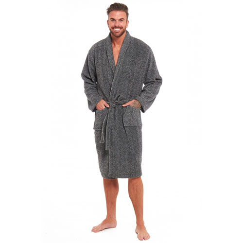 Mens Fleece Dressing Gown With Shawl Collar