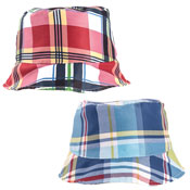 Mens Checked Bush Hat Red/Blue