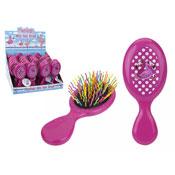 Kids Pink Flamingo Mini Cushion Hair Brush