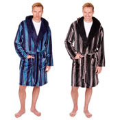 Mens Stripe Shawl Collar Dressing Gown with Hood