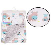 Mink Sherpa Baby Blanket Hippo Blue