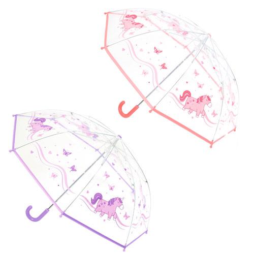 Girls Unicorn Print Clear Umbrella Lilac/Pink