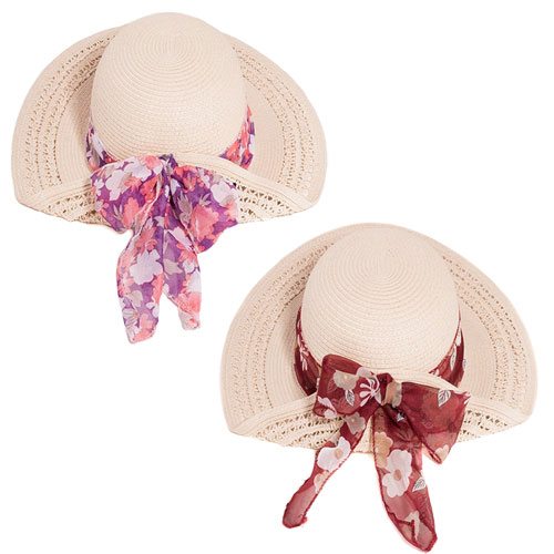 Ladies Straw Wide Brim Hat With Floral Scarf Band