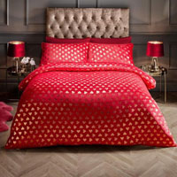Super Soft Metallic Heart Duvet Set Red