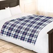 Fleece Blanket Checkered Blue White