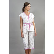 Ladies Heart Print Cropped Pyjamas With Belt