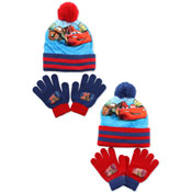 Disney Cars Childrens Bobble Hat & Gloves Set