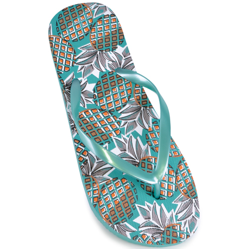 Ladies Pineapple Print Flip Flops
