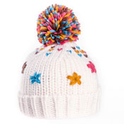 Girls Crochet Flowers Bobble Hat With Pom Pom