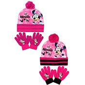 Official Girls Minnie Mouse Pink Bobble Hat & Gloves Set