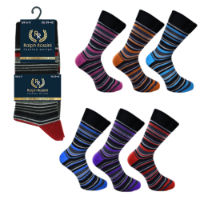 Mens 3 Pack Ralph Rossini Wide Stripe Socks