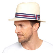 Mens Straw Panama Hat With Striped Band