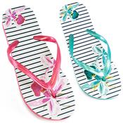Ladies Pin Stripe Flower Print Flip Flops