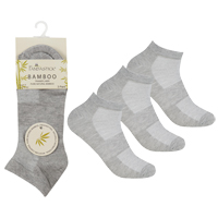 Ladies 3 Pack Bamboo Trainer Socks Grey Marl
