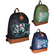 Tropical Print Backpack With Zip Pocket