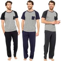 Mens Pocket Detail Jersey Pyjama Set