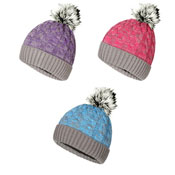Ladies Acrylic Cable Twist Beanie With Faux Fur Pom Pom