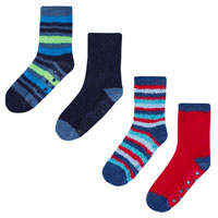 Boys 2 Pack Stripe Cosy Socks With Grippers