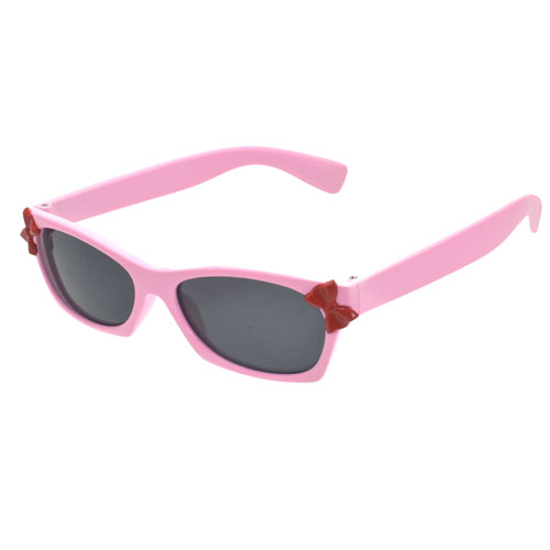 Girls Pink Plastic Frame Sunglasses With Bow