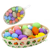 Golden Easter Egg Hunt Set In Basket